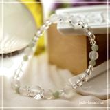 花かずら(6mm)再生する力を高めるホワイトオニキス・翡翠・水晶(クォーツ)ブレスレット