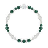 花かずら(6mm)緑青色アズロマラカイト・水晶(クォーツ)ブレスレット