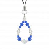 花かずら(6mm)青色ブルーメノウ・水晶(クォーツ)ストラップ