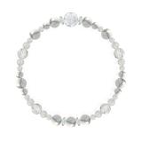 花かずら(6mm)灰白色ハウライト・水晶(クォーツ)ブレスレット