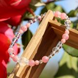花かずら(6mm)薔薇色インカローズ・水晶(クォーツ)ブレスレット