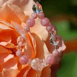 花かずら(6mm)薔薇色インカローズ・水晶(クォーツ)ストラップ