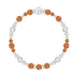 花かずら(6mm)橙色サードオニキス・水晶(クォーツ)ブレスレット