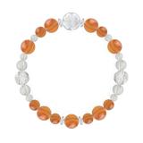 花かずら(8mm)橙色サードオニキス・水晶(クォーツ)ブレスレット