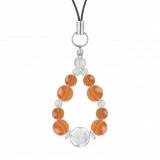 花かずら(8mm)橙色サードオニキス・水晶(クォーツ)ストラップ