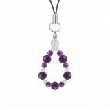 鳳凰(6mm)紫色アメジスト・水晶(クォーツ)ストラップ