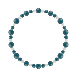 鳳凰(6mm)花浅葱色アパタイト・水晶(クォーツ)ブレスレット