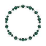 鳳凰(6mm)緑青色アズロマラカイト・水晶(クォーツ)ブレスレット