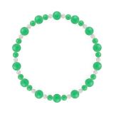鳳凰(6mm)若緑色クリソプレーズ・水晶(クォーツ)ブレスレット