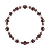 鳳凰(6mm)真紅色ガーネット・水晶(クォーツ)ブレスレット