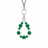 鳳凰(6mm)緑色グリーンメノウ・水晶(クォーツ)ストラップ