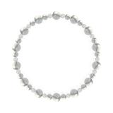 鳳凰(6mm)灰白色ハウライト・水晶(クォーツ)ブレスレット