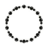 鳳凰(6mm)黒色オニキス・水晶(クォーツ)ブレスレット