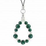 鳳凰(8mm)緑青色アズロマラカイト・水晶(クォーツ)ストラップ