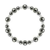 鳳凰(8mm)銀鼠色ヘマタイト・水晶(クォーツ)ブレスレット