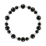 鳳凰(8mm)黒色オニキス・水晶(クォーツ)ブレスレット