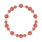 鳳凰(8mm)薔薇色インカローズ・水晶(クォーツ)ブレスレット